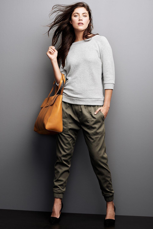 Khaki joggers style to dress