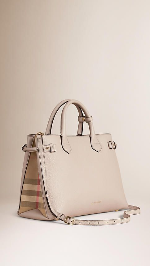 Light Grey Melange The Medium Banner In Leather And House Check Image 1