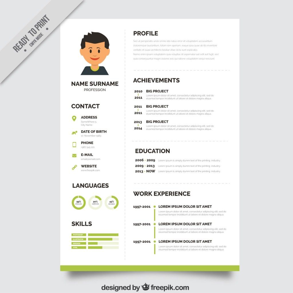 Format Curriculum Vitae Greenresumetemplate  Cv  Pinterest  Green Tops Cv Template