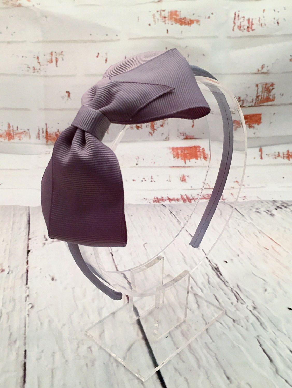 Big bow headband grey headband silver headband gray hair bow