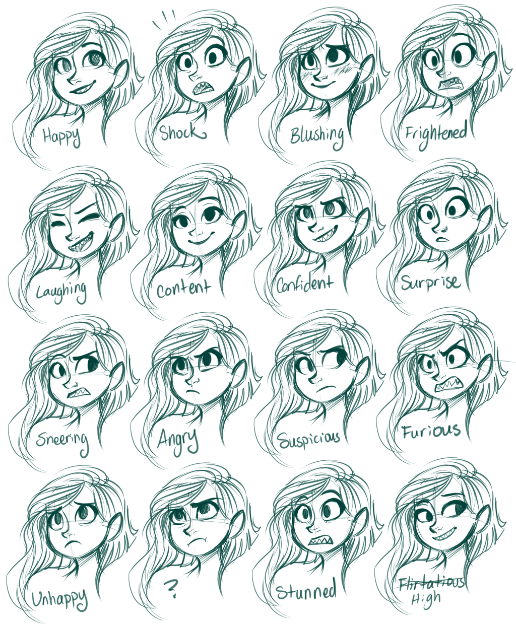 Character Design Drawing Challenge : Vera expressions by sharpie viantart on