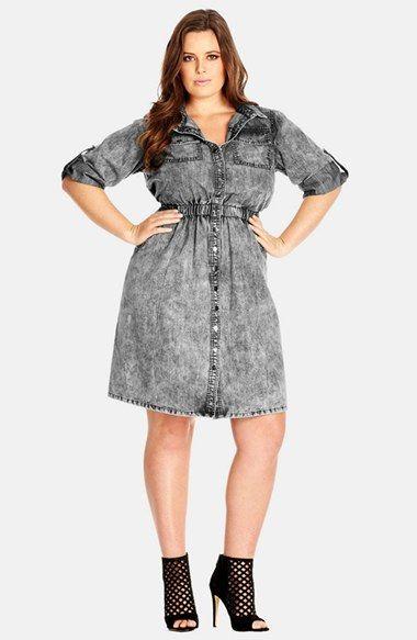 City Chic Acid Wash Denim Shirtdress (Plus Size) available at ...