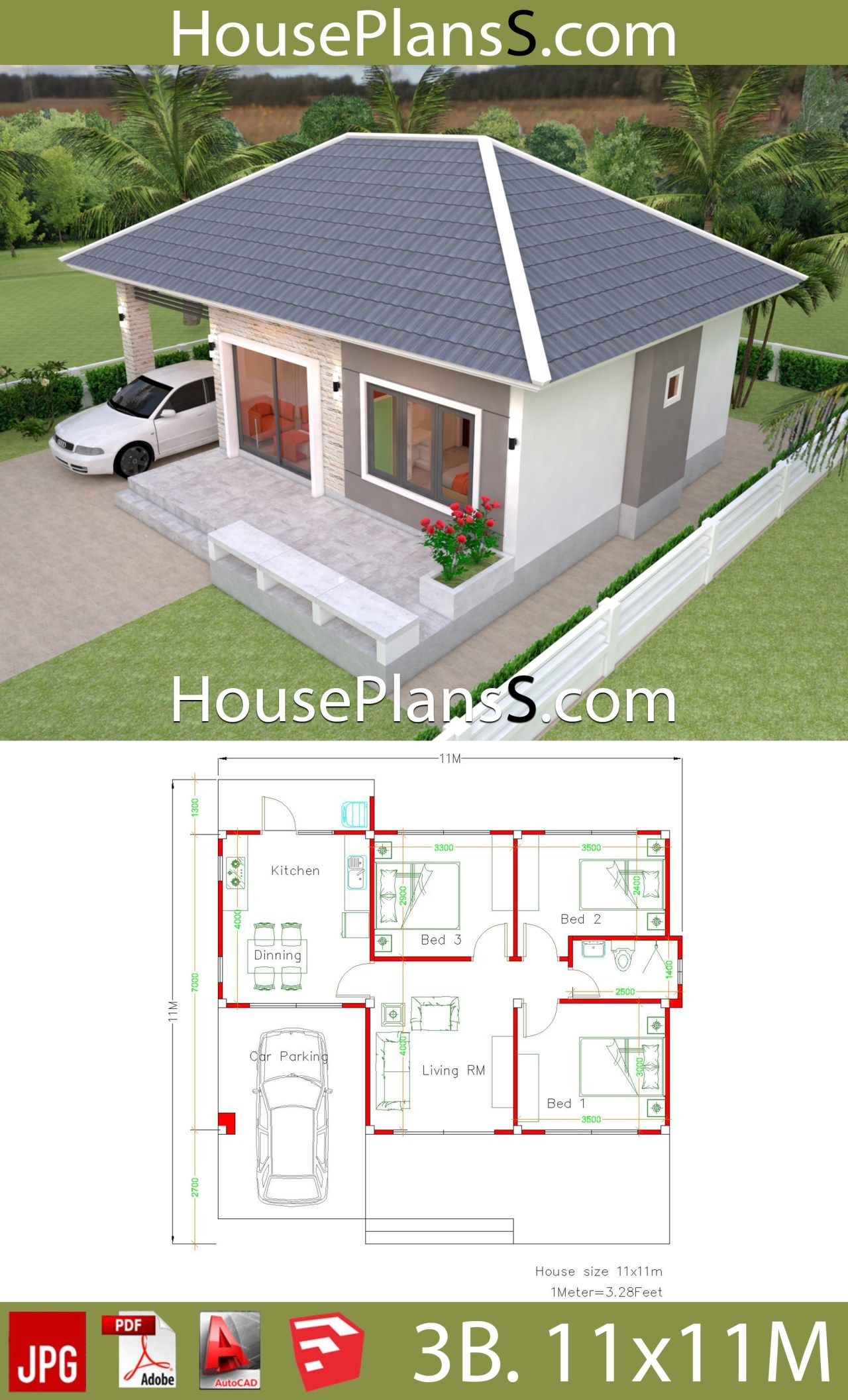 Simple House Design Plans 11x11 With 3 Bedrooms Full Plans Simple House Simple House Design House Layout Plans