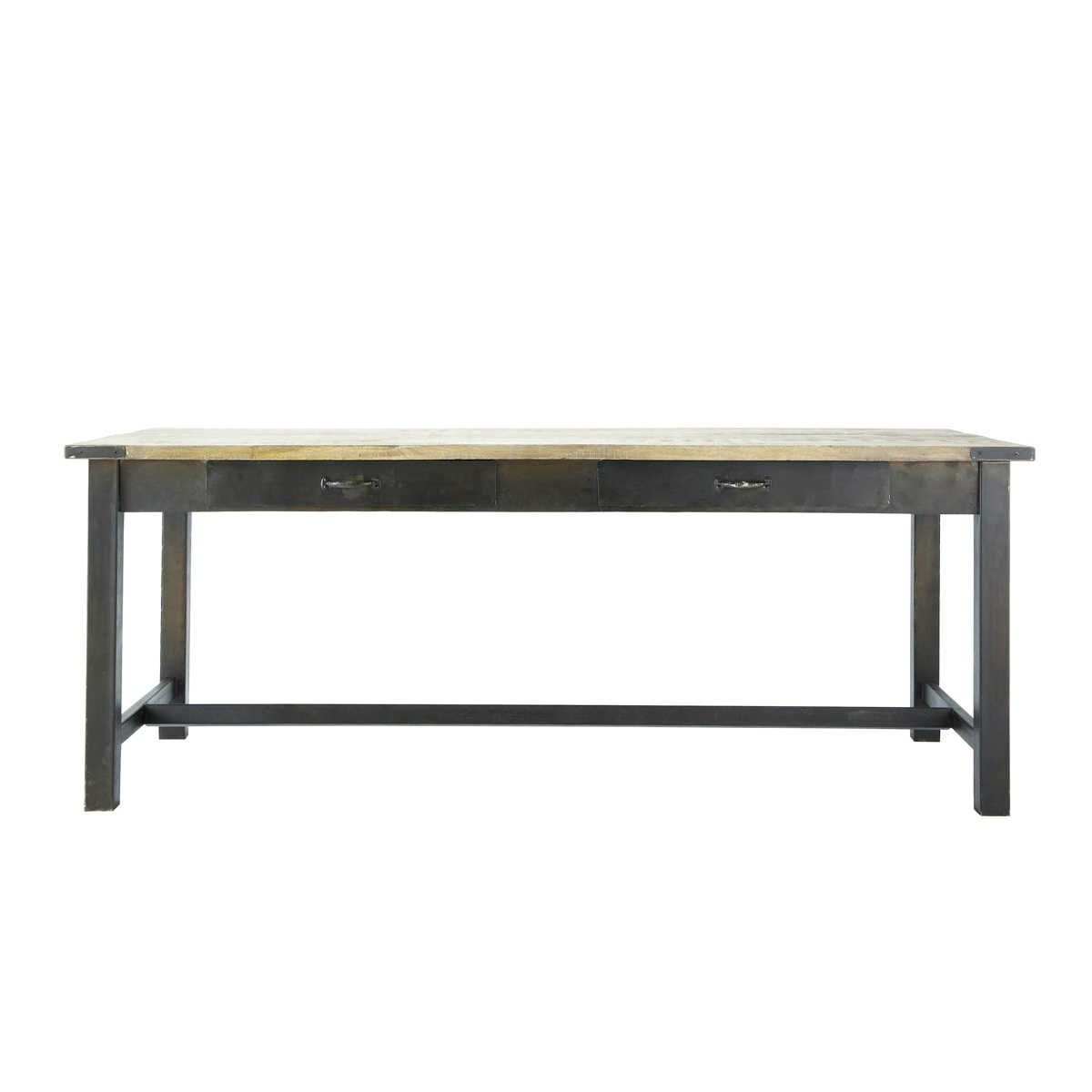 Table de salle manger en manguier et m tal l 200 cm for Table haute cuisine industrielle