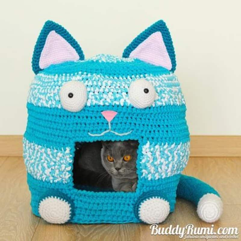 Crochet Cat Cave Free Pattern Lots Of Ideas Crochet Cats Cat Cave