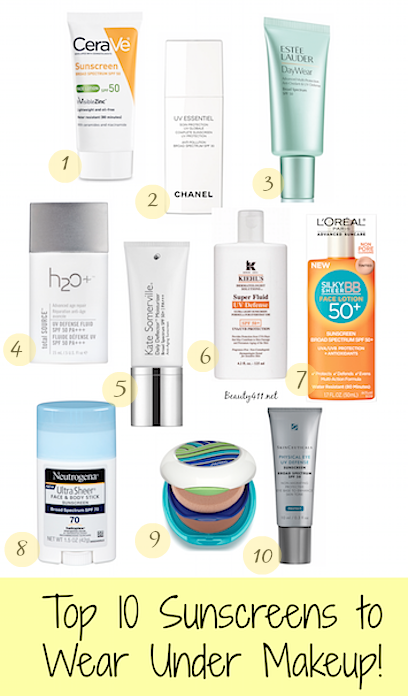 Top 10 Favorite Sunscreens for wearing under makeup
