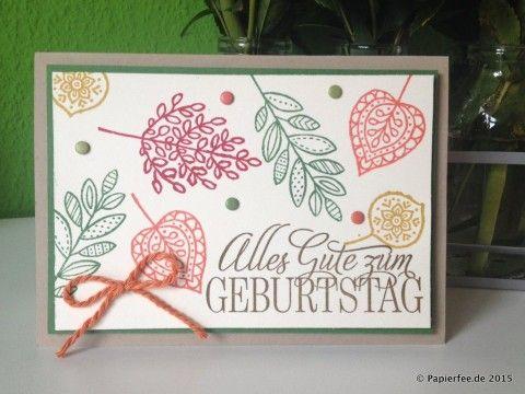 "Stampin'Up!, Herbst-/Winterkatalog 2015, Herbst, Stempelset ""Blättertanz"", Geburtstagskarte"
