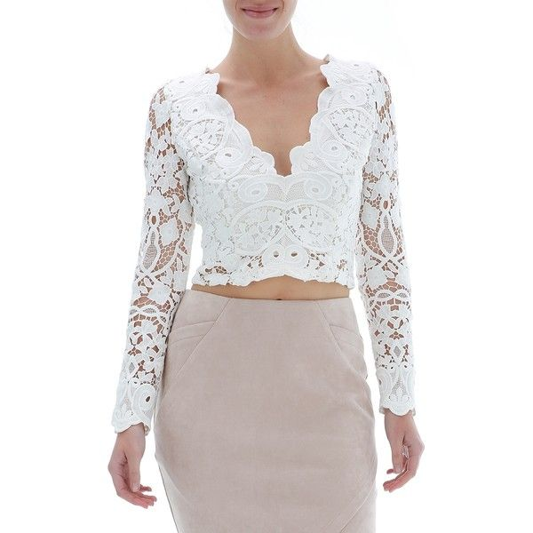 783a0f213de000 Ally Fashion Long Sleeve Lace Crop Top ( 27) ❤ liked on Polyvore featuring  tops
