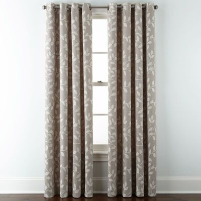 Buy JCPenney Home™ Quinn Leaf Grommet Top Curtain Panel Today At Jcpenney .com
