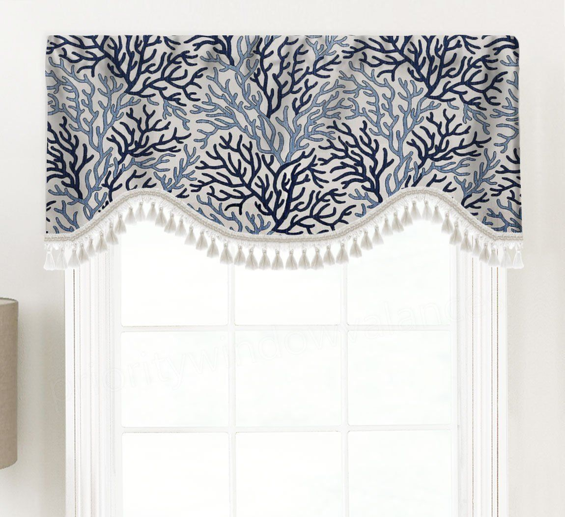 Shaped Rod Pocket Custom Valance Fits Window 33 42 Inches Only