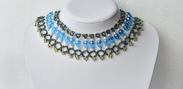 How to Make Chic Beading Bib Necklace With Pearl and Glass Beads for Women