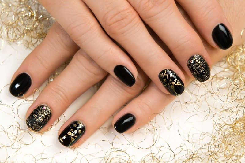 pin von german dream nails auf naildesign by gdn pinterest jolifin schwarzes gold und glitter. Black Bedroom Furniture Sets. Home Design Ideas