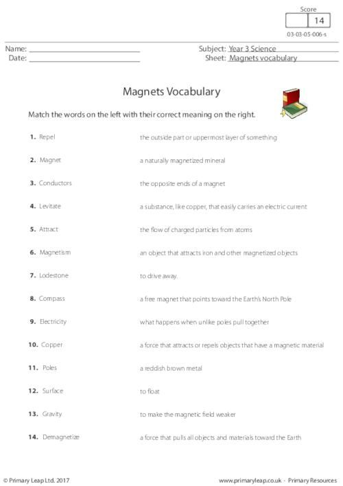 Primaryleap Co Uk Magnets Vocabulary Worksheet With Images