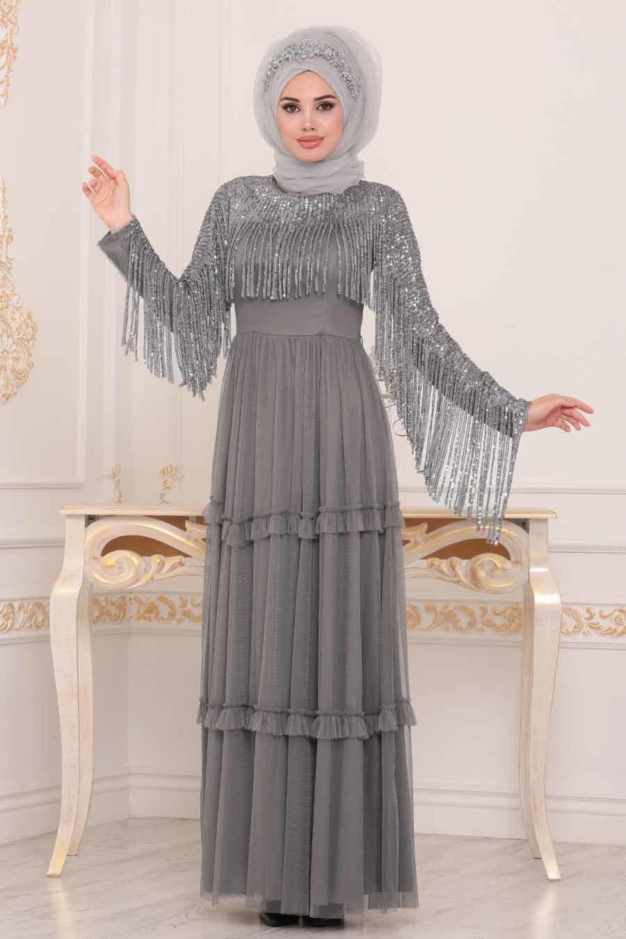 Tesetturlu Abiye Elbise Puskullu Gri Tesettur Abiye Elbise 3823gr Tesetturisland Com Elbise Victorian Elbiseler Elbiseler