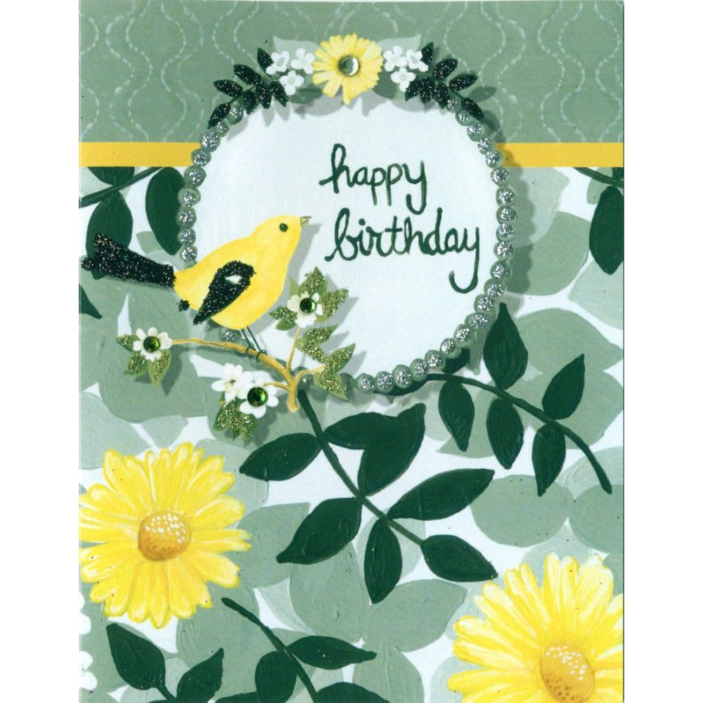 Happy birthday cards happy birthday card blank inside yellow wholesale trade welcome black gray and yellow floral design with a yellow bird and frame that says happy birthday unique design exclusive to violet cottage kristyandbryce Choice Image
