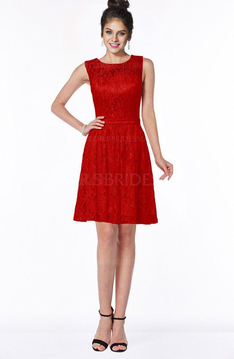 Red romantic scoop zip up satin knee length bridesmaid dresses red romantic scoop zip up satin knee length bridesmaid dresses ombrellifo Image collections
