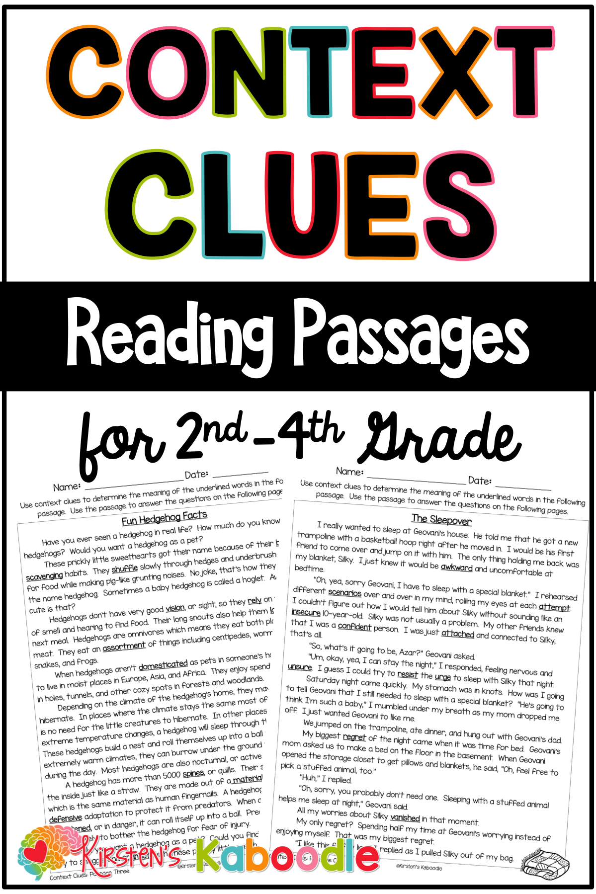 Context Clues Activities Passages Worksheets Amp Anchor