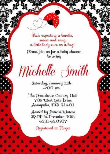 Ladybug Lady Bug Baby Shower Birthday Party Invitation