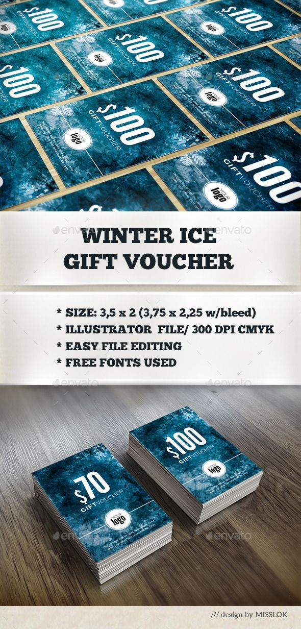 Winter Ice Gift Voucher Template Print Templates And Graphic