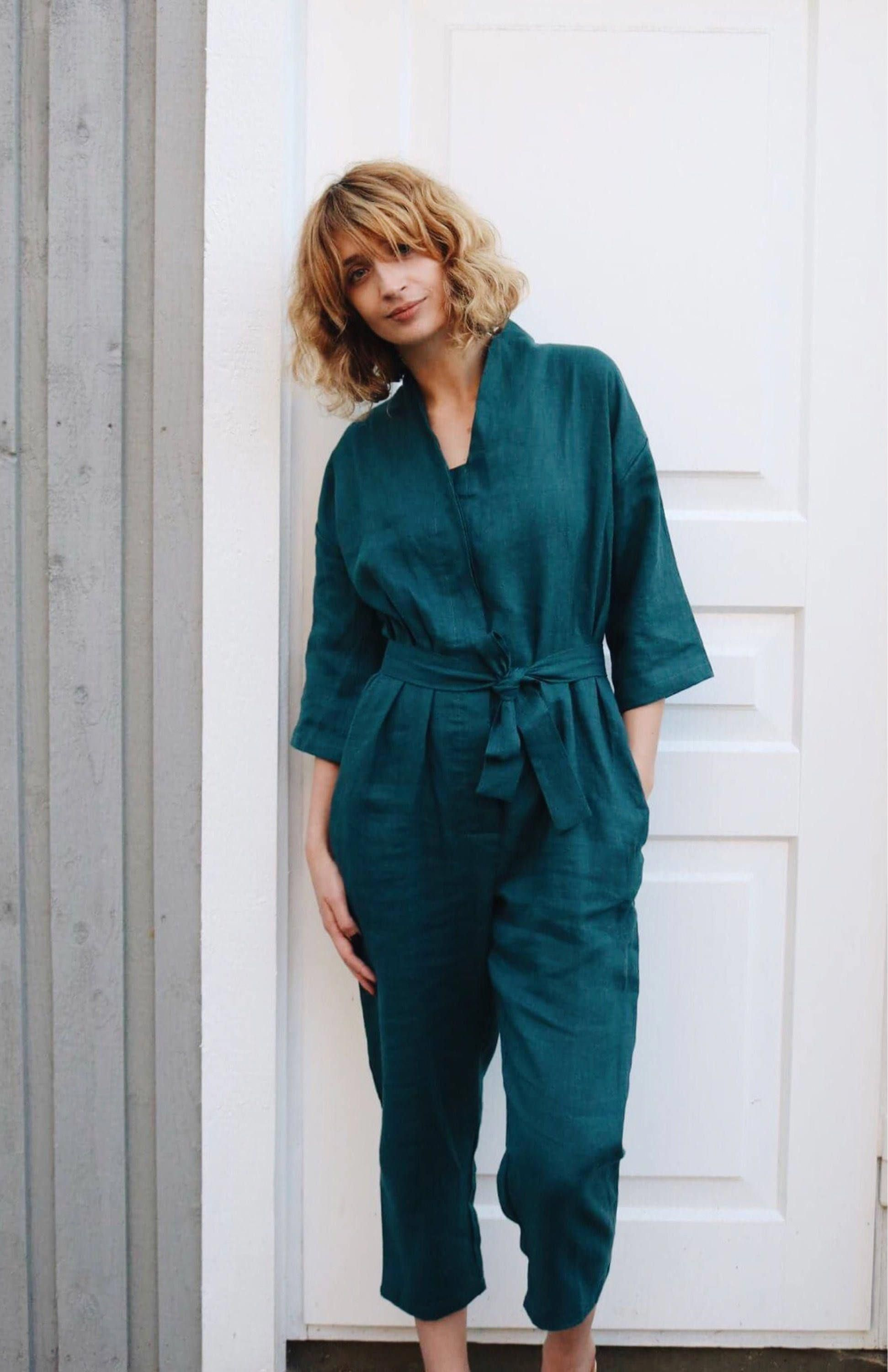 6d0c8c71fe4 Dark Turquoise Kimono Jumpsuit - Kimono Linen Jumpsuit - Women Overall - Linen  Overall - Linen Romper - Handmade by OFFON by OffOn on Etsy