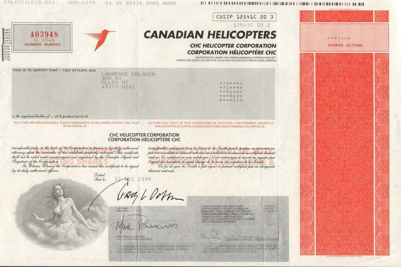 Canadian Helicopters 1999 Helicopter, Canadian, Stock