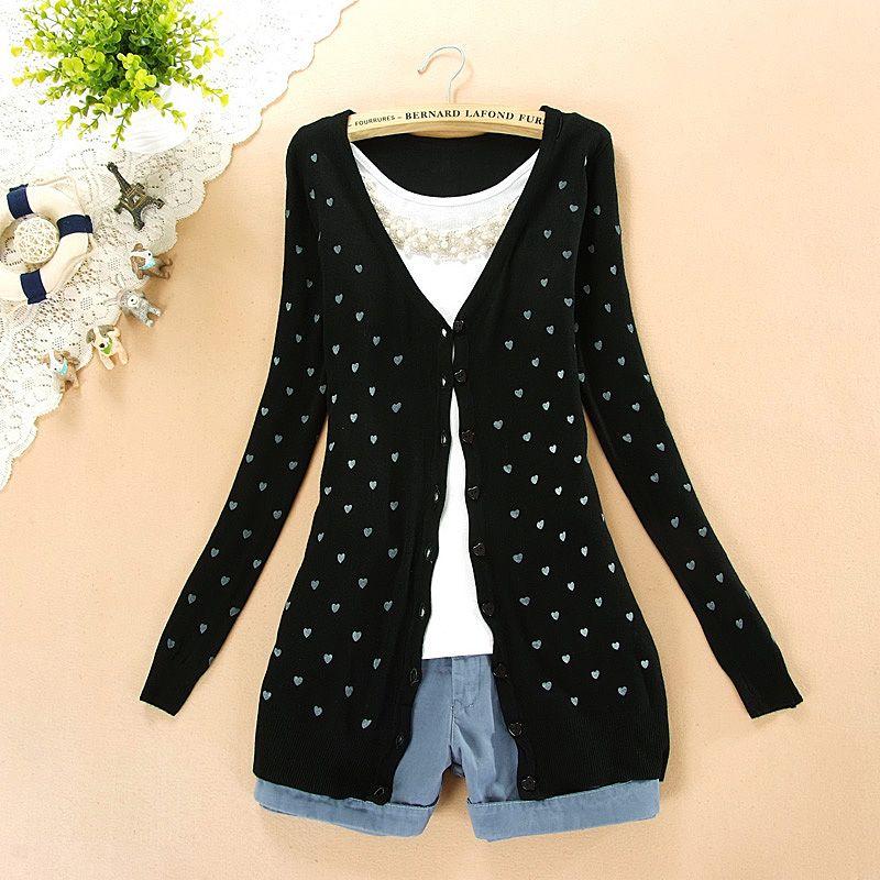 $11.99 Sweet Long Sleeve Heart Pattern Cardigan Sweater at Online Apparel Store Gofavor