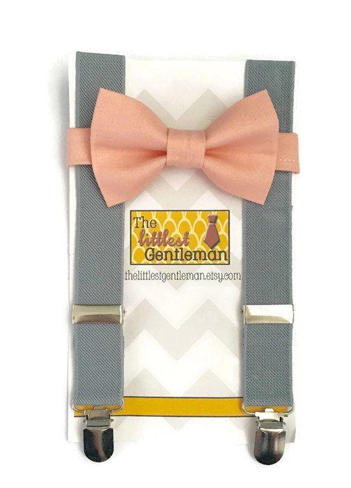peach bow tie and suspender set boys peach by TheLittlestGentleman