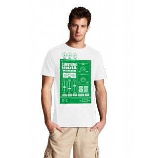 SURVIVING INDIA 2 Funny Messages Tshirts for Mens in White Color, buy it now at tantratshirts.com