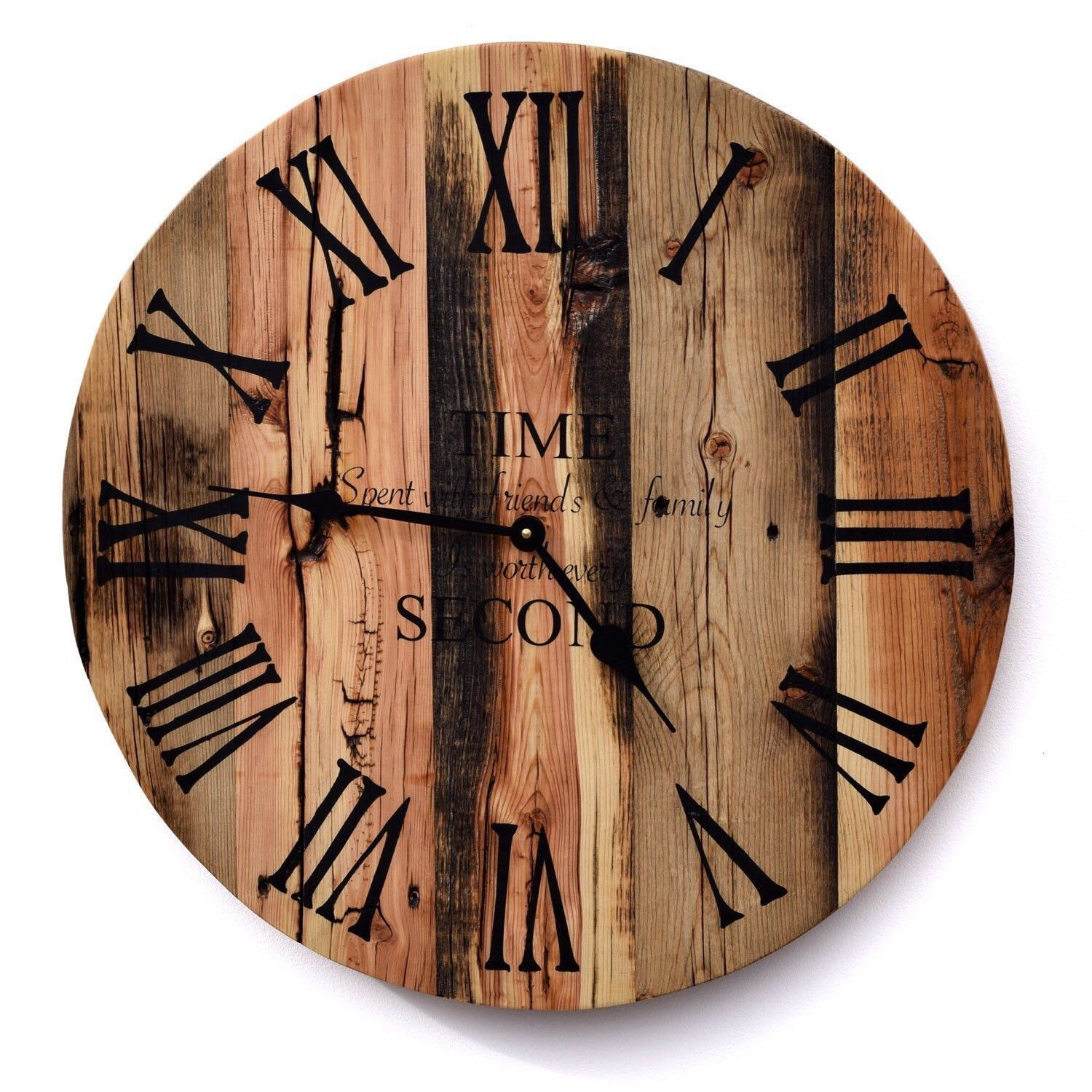 77f4a81dd78a Oversized Reclaimed Barn Wood Clock-Quote | Products | Rustic wood ...