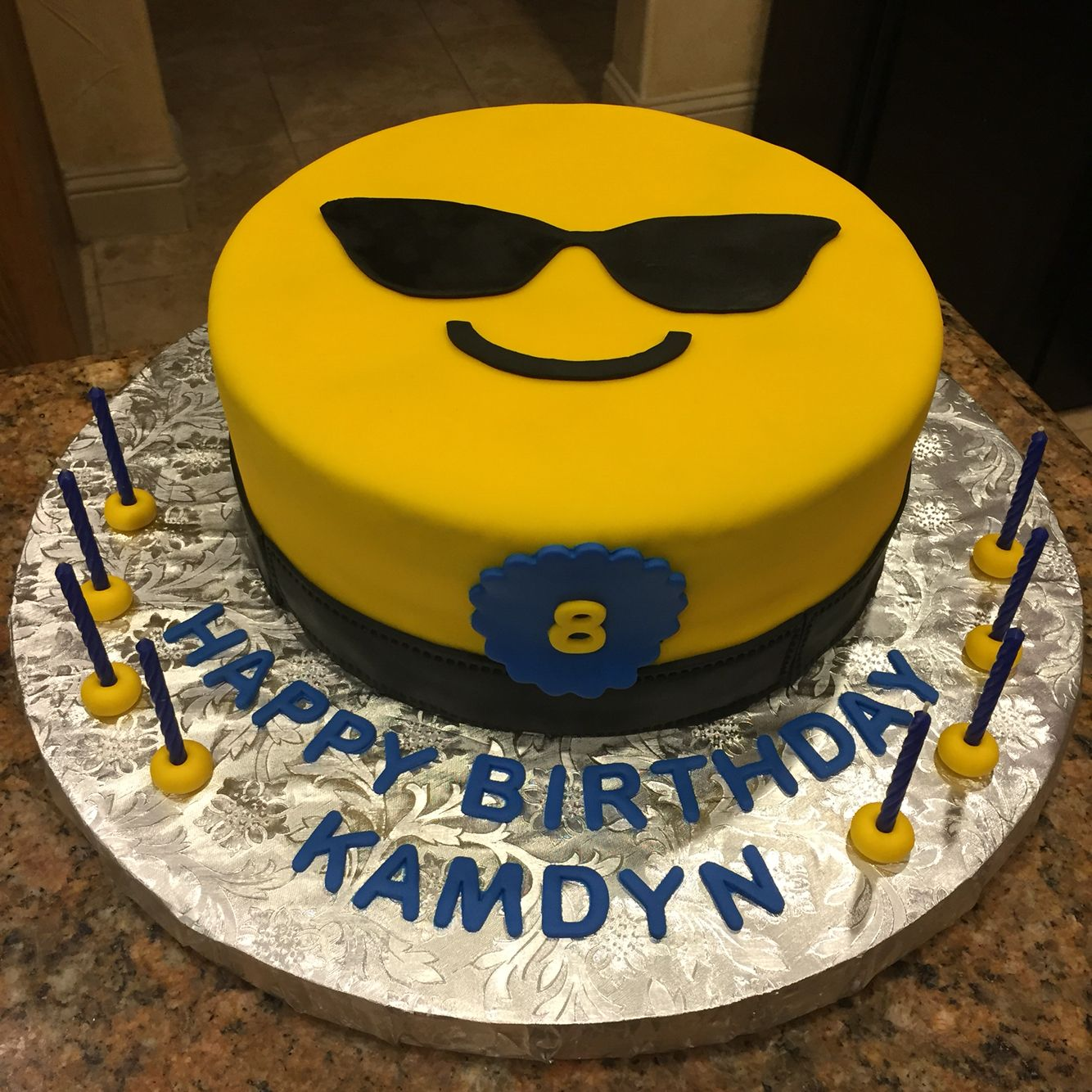 Images Of Birthday Cake Emoji : Sunglasses emoji cake! Emoji birthday cake! My Cakes ...