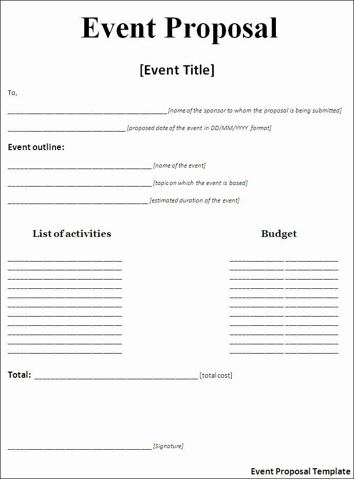 Free event Proposal Template New event Proposal Template