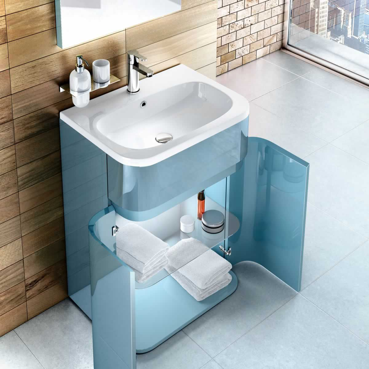 Britton D450 Gull Wing Cabinet with Basin | Gull, Aqua and Basin