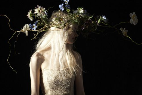 harrietparryflowers:  Faux flower pieces Harriet Parry flowers  Photography Clara Blomqvist  Stylist Esther Taylor Model Mimi Wilschere at Premier Model Management