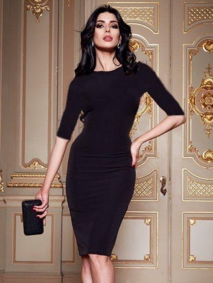 d1bedfee468 Классическое черное платье-футляр с рукавом 3 4 в 2019 г.
