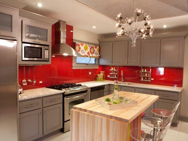 Cuisine rouge et grise 25 belles idées du0027inspiration - Photo Cuisine Rouge Et Grise