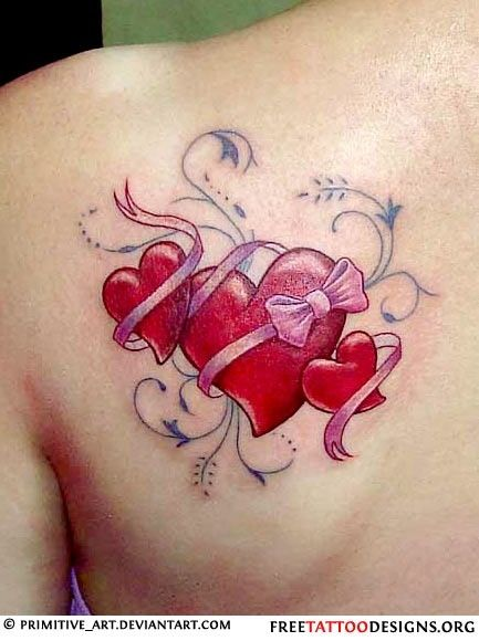 3 same sized hearts with my kids names in the ribbons tattoos pinterest tattoo tatting. Black Bedroom Furniture Sets. Home Design Ideas