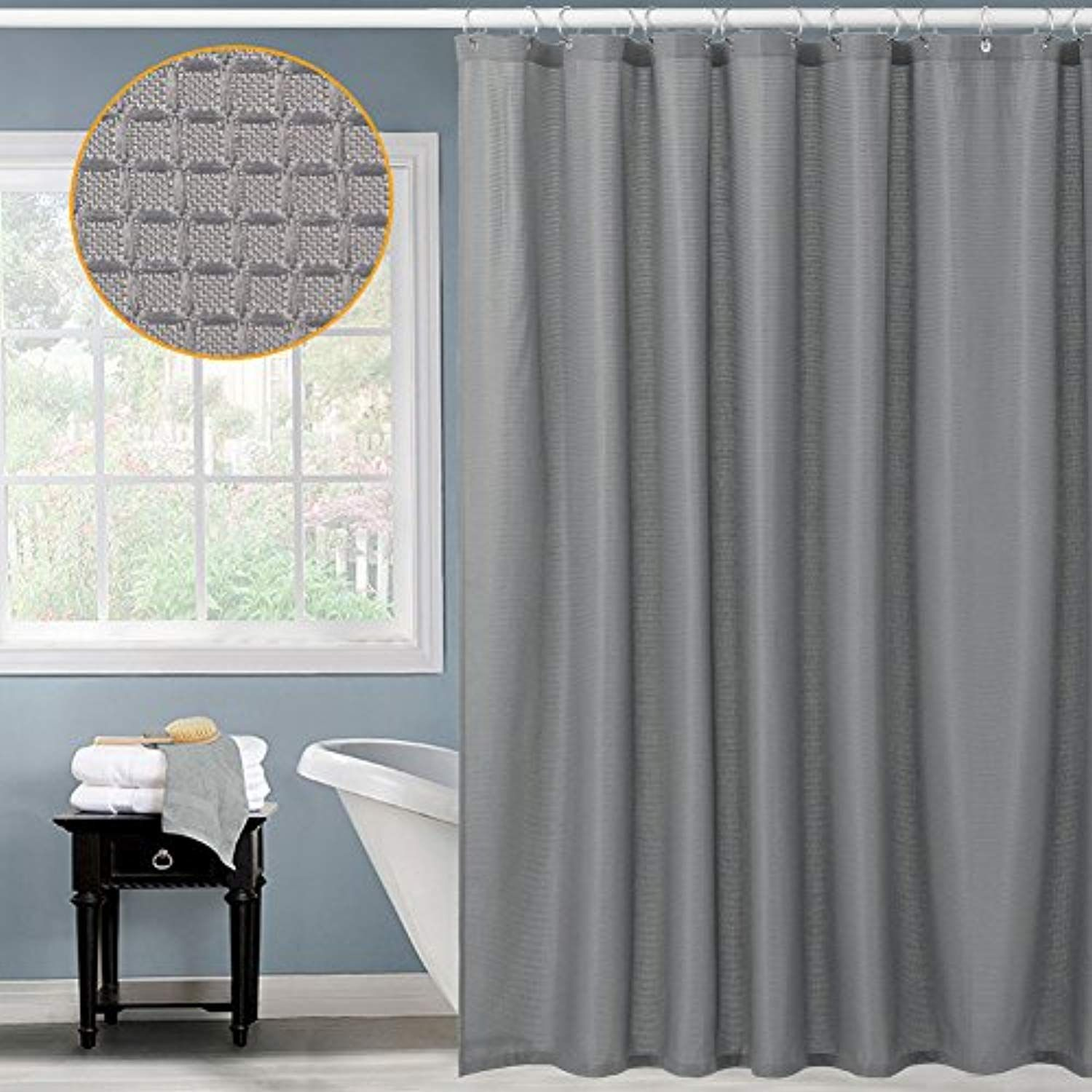 Waffle Fabric Shower Curtain For Bathroom Water Repellent Modern Mildew Resistant With Rustproof Metal Grommets Top 72x72 Inches