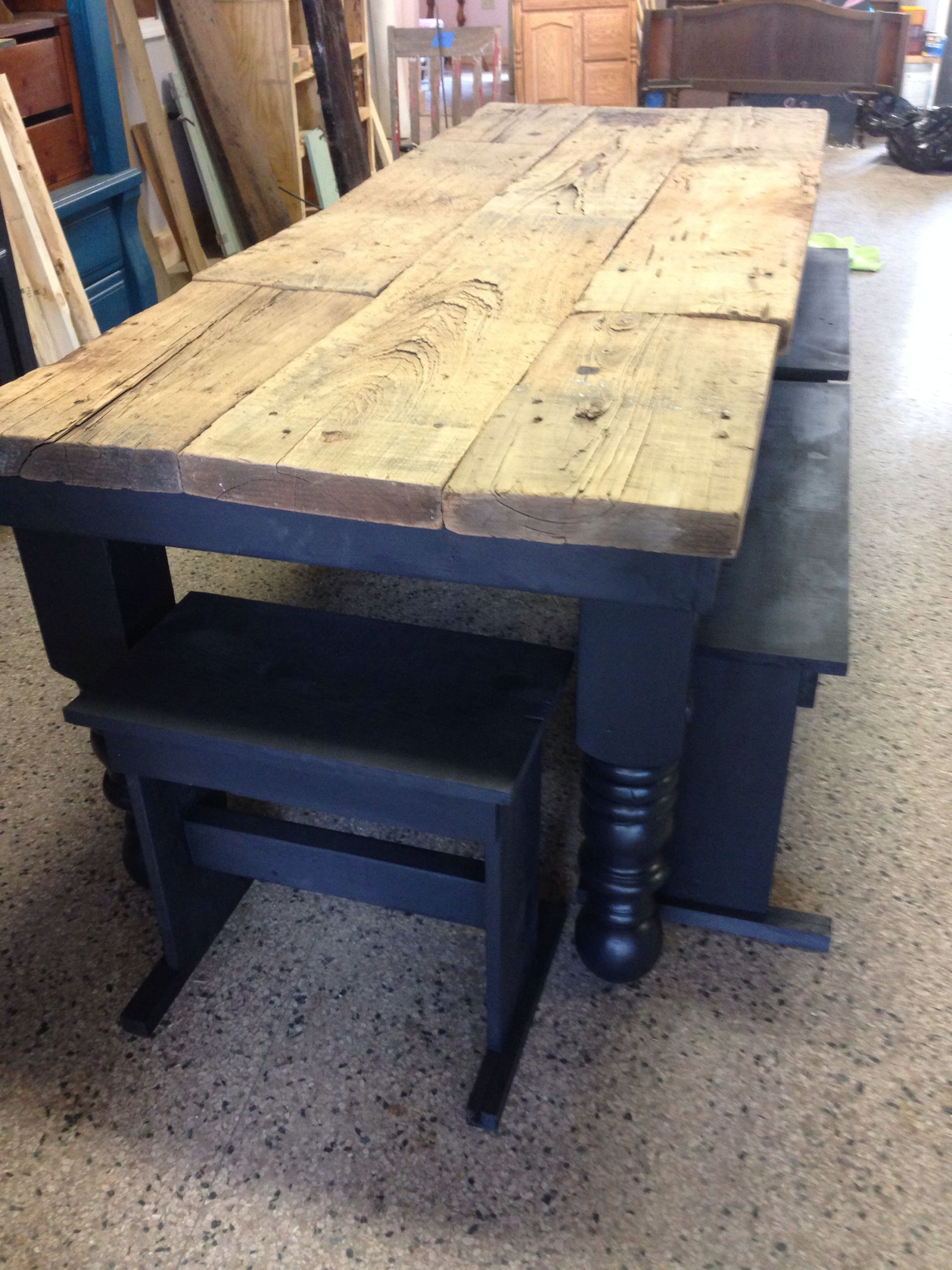 Custom Table Made From 100 Year Old Wooden Planks And An Old