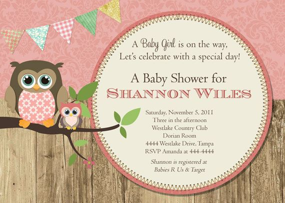 Owl Mama And Baby Owl Rustic Baby Shower Invitation Digital File