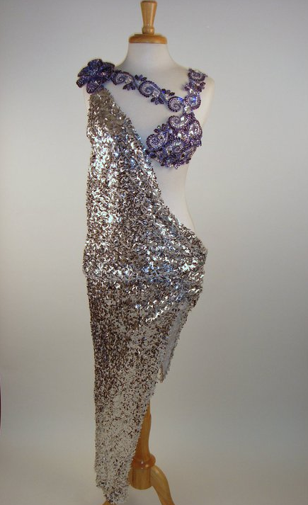 Silver sequinned fabric and Amethyst crystal crusted bra and shoulder strap.