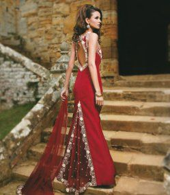 Maroon Trail Gown Front Of Has Rouching On Bust Embroidered With Flowers And Diamontes Collection Wedding