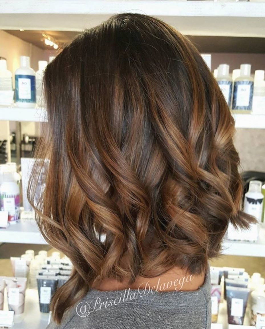 Looks with caramel highlights on brown and dark brown hair.