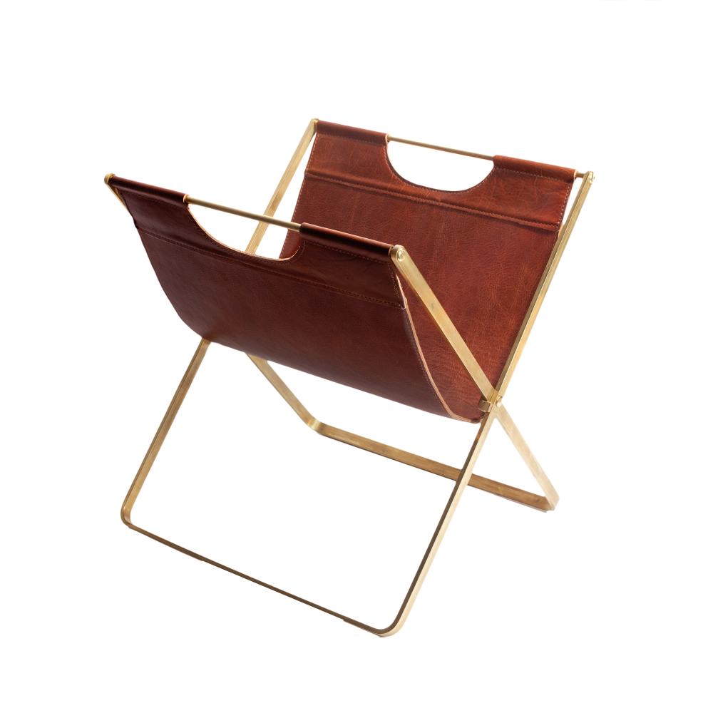 Love Adorned Leather and Brass Folding Magazine Rack