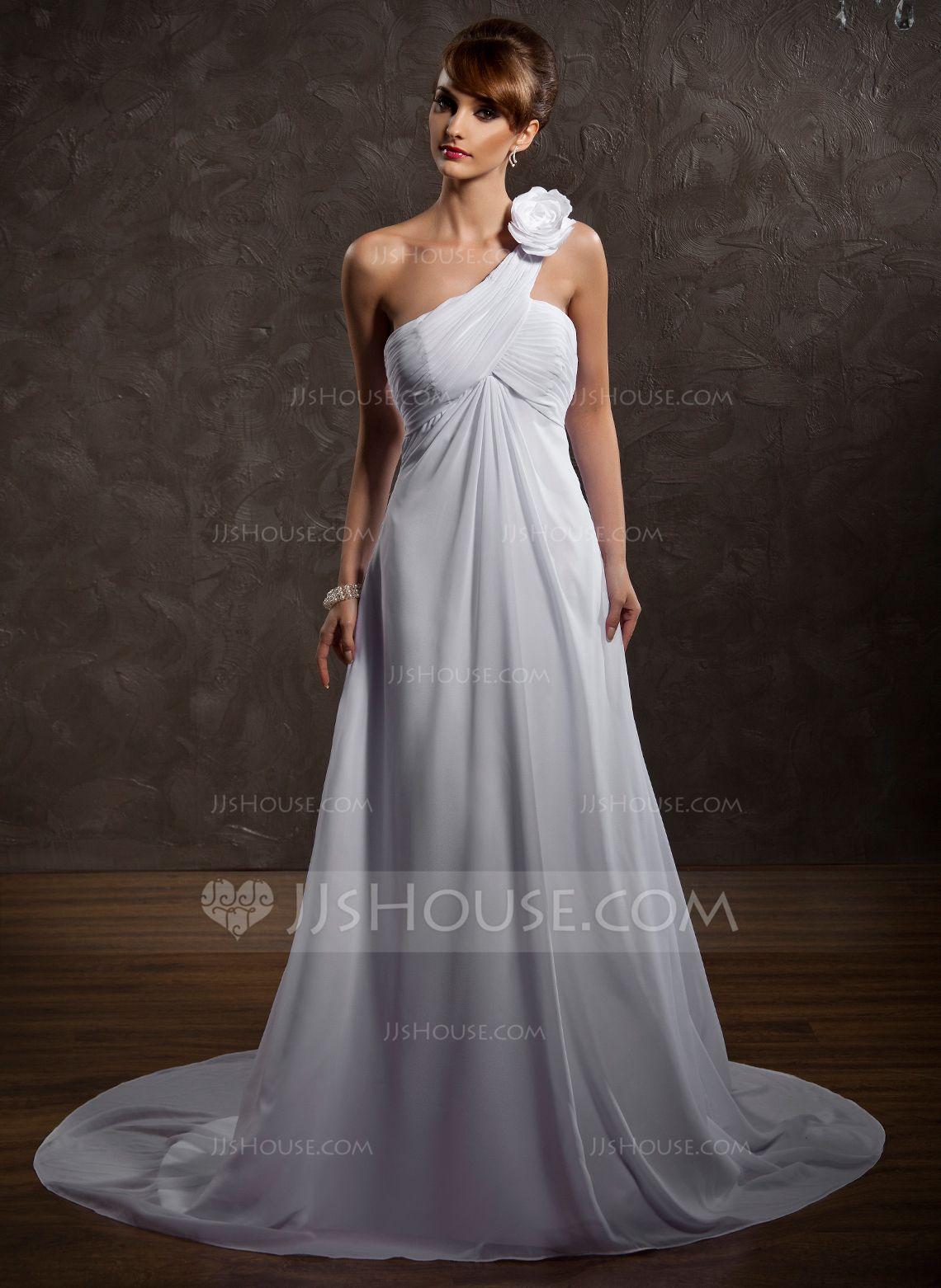 Empire oneshoulder court train chiffon wedding dress with ruffle