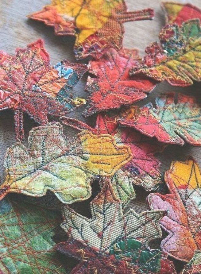 BUYERS with arts and crafts: Textile decorative leaves with pattern