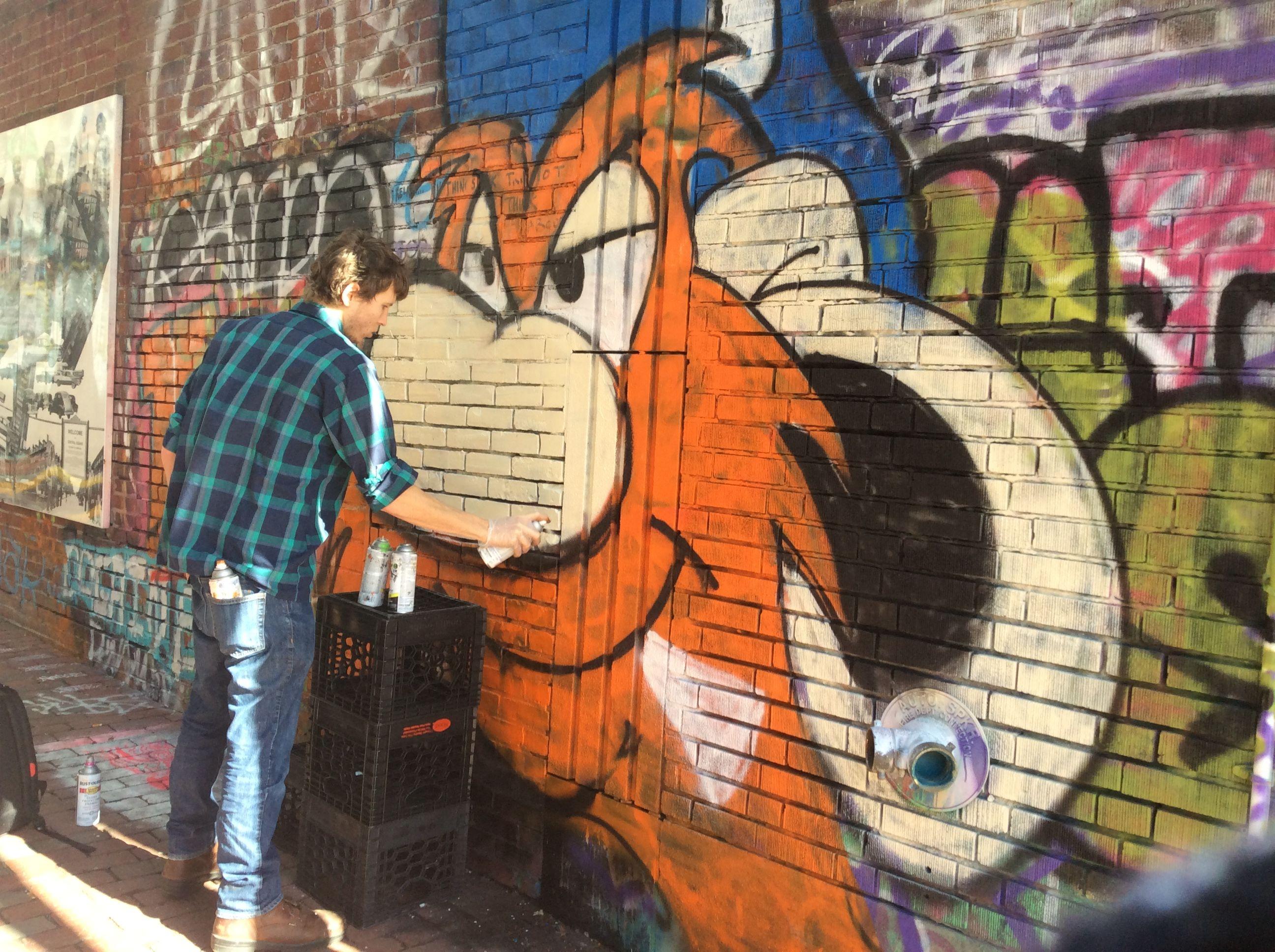 Graffiti wall cambridge ma - Alex At Work In Graffiti Alley In Central Square Cambridge Ma