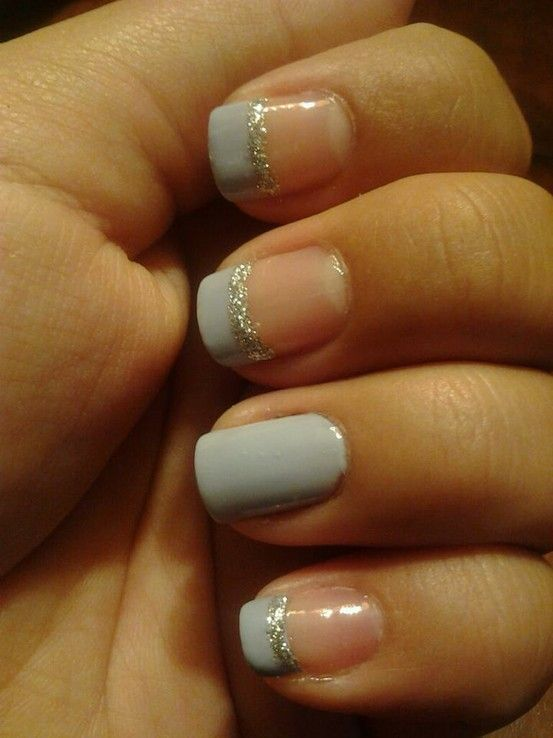 Love The French Tips With Glitter But I Havent Latched On Different Ring Finger Thing Yet