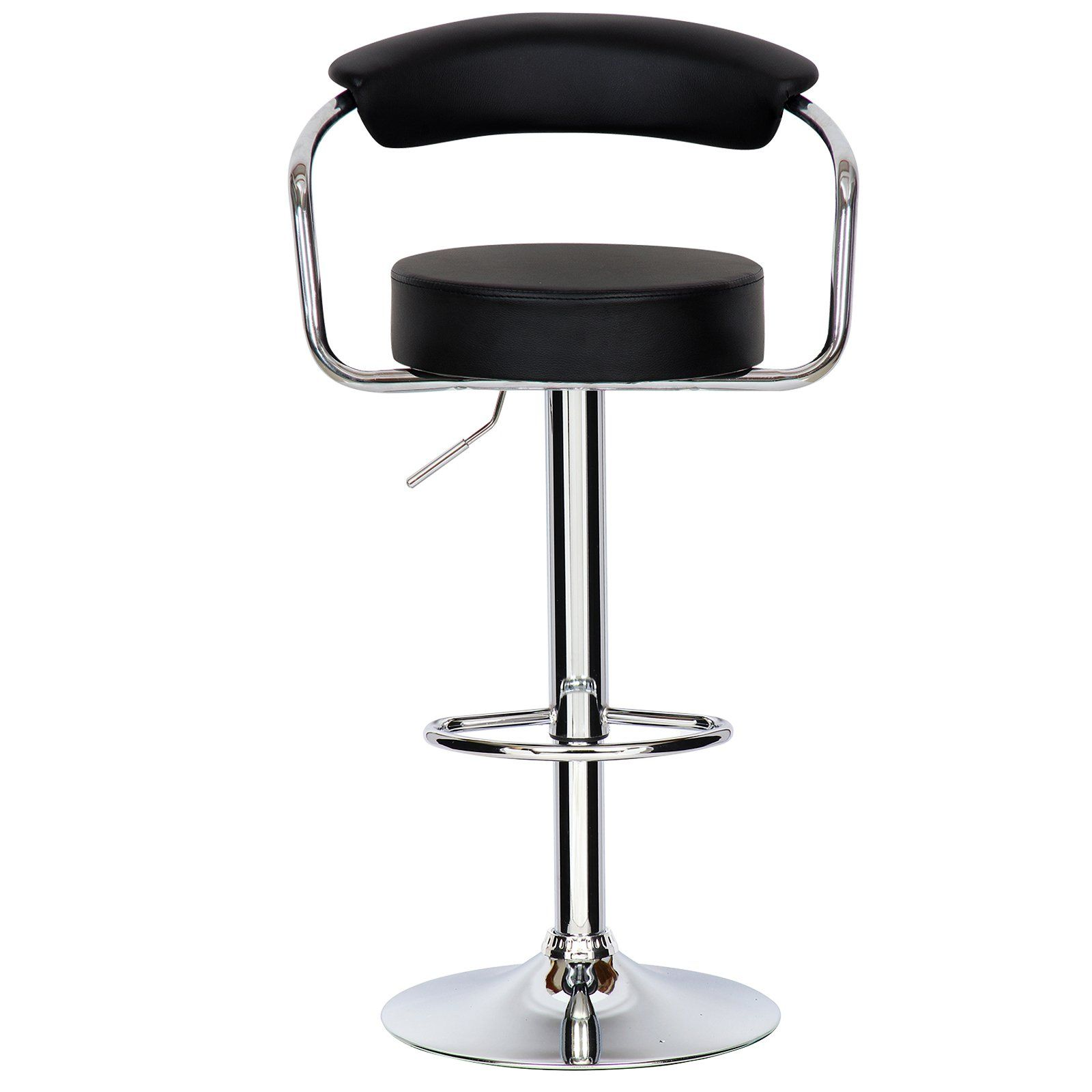 Woltu absx1009blkc luxury faux leather bar stools kitchen stools breakfast barstools with backs and arms gas strut adjustable 3341 7x13 8x13 8 inch black
