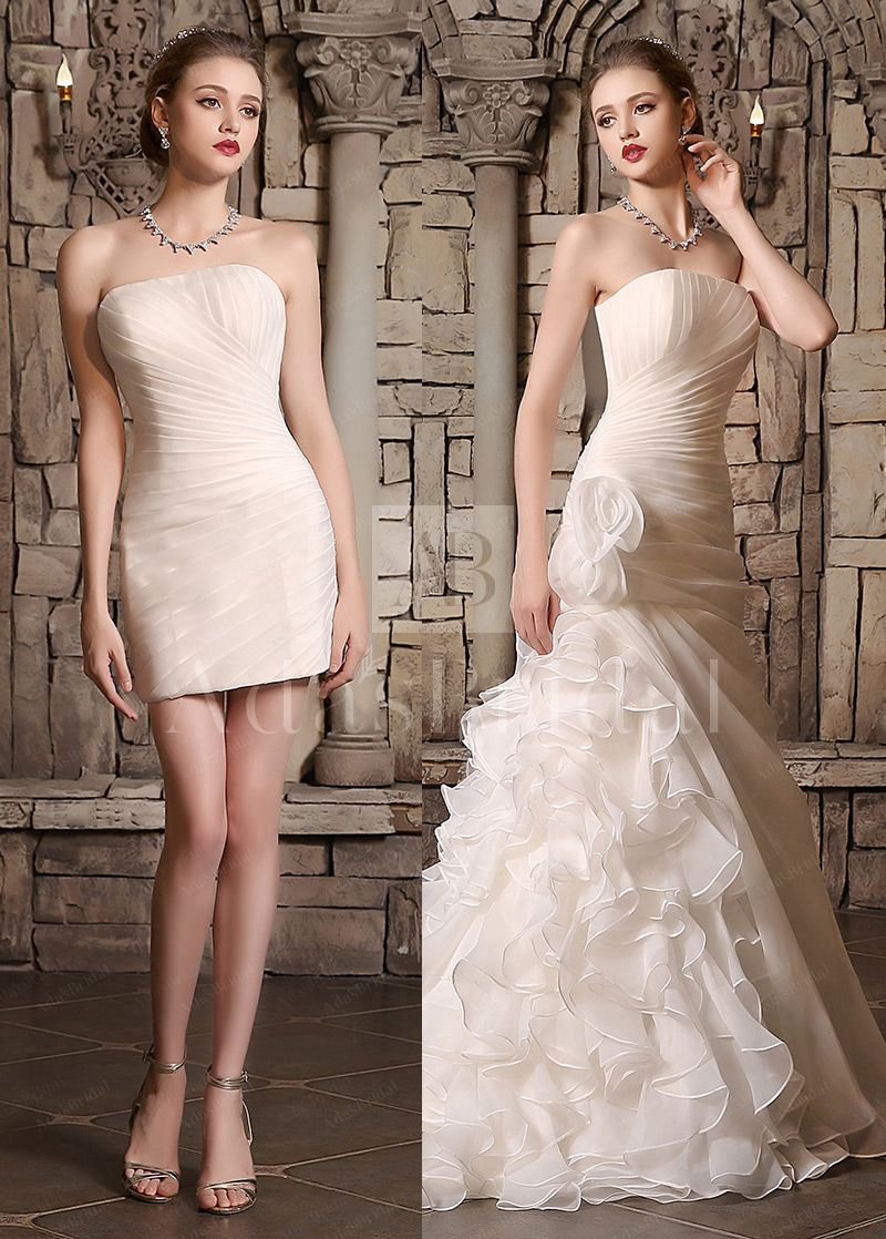 19599 Amazing Organza Satin Strapless Neckline 2 In 1 Wedding Dresses