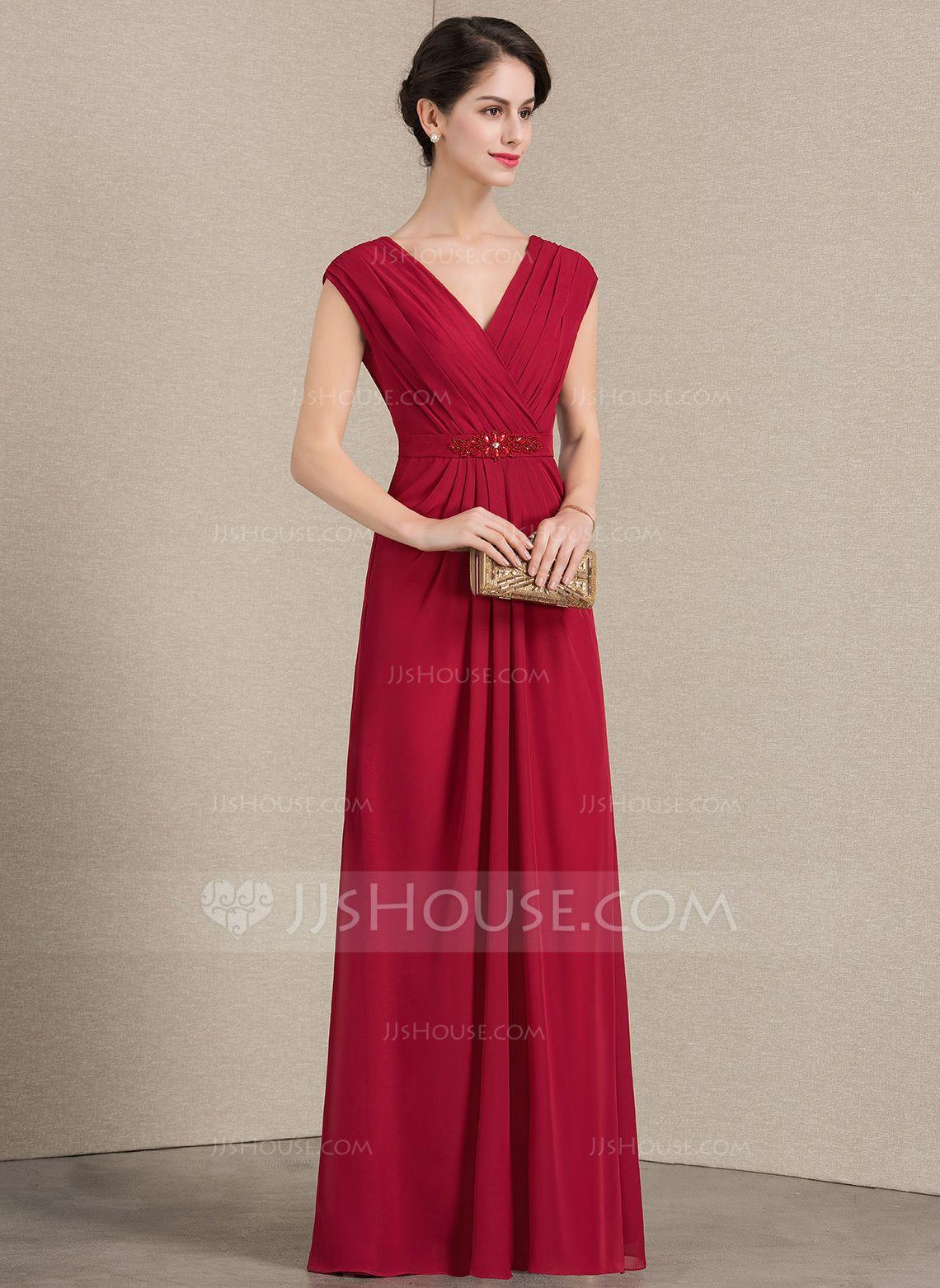A-Linie Princess-Linie V-Ausschnitt Bodenlang Chiffon Kleid für die  Brautmutter mit Rüschen Perlstickerei (008143380) - JJsHouse a7597e47e3